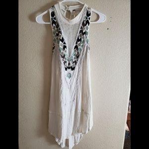 Free People Sleeveless Boho White Tunic Dress